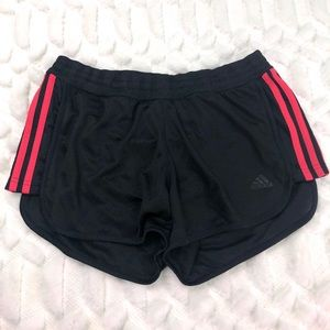 Adidas   Black Mesh Shorts with Red Stripes   M